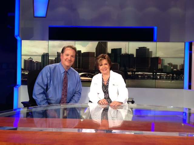 "Dr. Gershman and Dr. Ramirez on the set for the ""Ask the Allergist"" segments"
